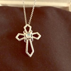 Jewelry - NWT Opal Cross Pendent with a S.S. Chain.